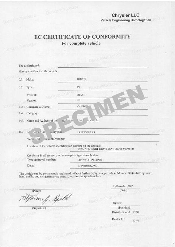 Certificat de Conformité Dodge