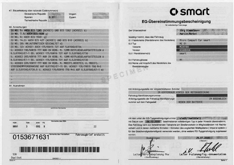 Certificat de conformité Smart