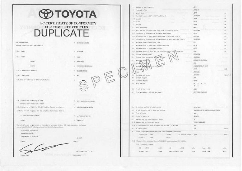 Certificat de conformité Toyota